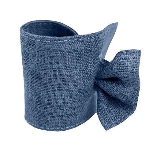 Cute denim blue linen napkin ring, made of 100% linen, decorated with tie. Perfect for Nordic style table setting accessories. Reusable. Machine washable.
