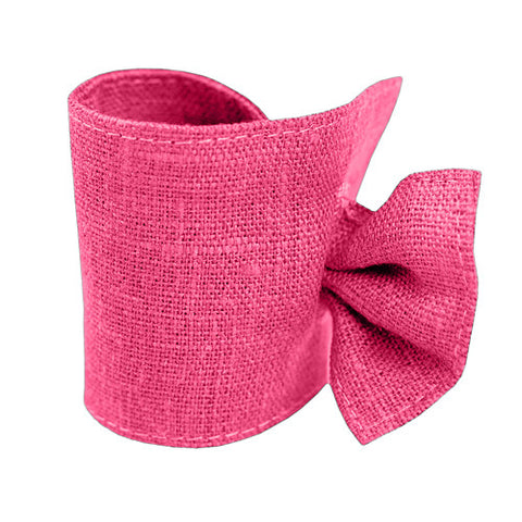 Cute fuchsia, bright pink linen napkin ring, made of 100% linen, decorated with tie. Perfect for Nordic style table setting accessories. Reusable. Machine washable.
