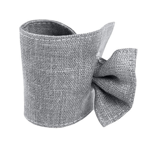 Cute light gray linen napkin ring, made of 100% linen, decorated with tie. Perfect for Nordic style table setting accessories. Reusable. Machine washable.