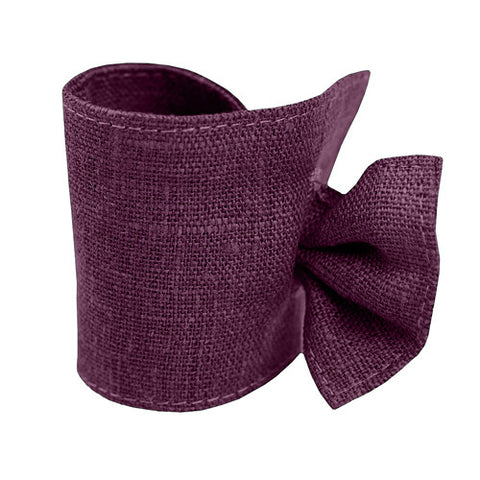 Purple Linen Napkin Ring with Tie