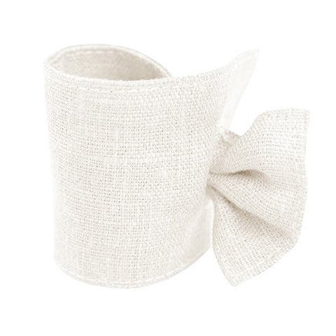Natural White Linen Napkin Ring with Tie
