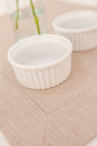 Sand Beige 100% Linen Placemat with Hem Stitch 37x45 cm