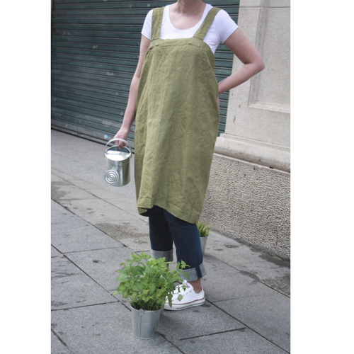 Linen pinafore apron, olive green japanese style cross back apron made of 100% linen fabric.