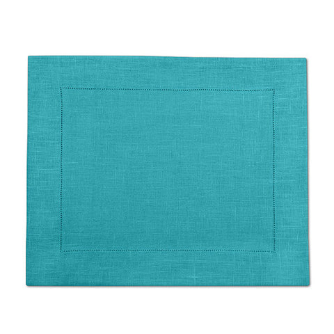 Dark Turquoise 100% Linen Placemat with Hem Stitch 37x45 cm