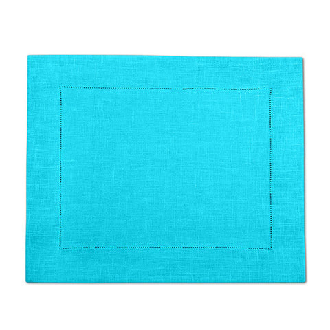 Light Turquoise 100% Linen Placemat with Hem Stitch 37x45 cm