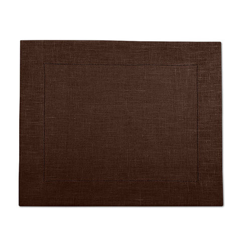 Dark Brown 100% Linen Placemat with Hem Stitch 37x45 cm
