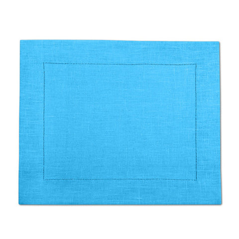 Light Blue 100% Linen Placemat with Hem Stitch 37x45 cm