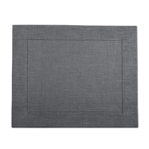Gray 100% Linen Placemat with Hem Stitch 37x45 cm