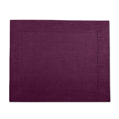 Purple 100% Linen Placemat with Hem Stitch 37x45 cm
