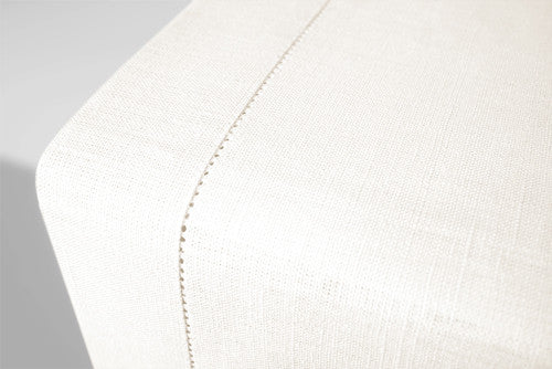Natural White Linen Table Runner Hemstitch 140x45 cm / 55x18 inches