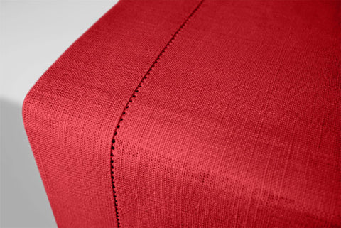 Christmas Red Linen Table Runner Hemstitch 140x45 cm / 55x18 inches