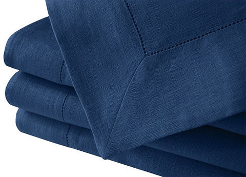 Denim Blue 100% Linen Tablecloth Hemstitched
