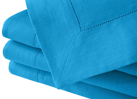 Light Blue 100% Linen Tablecloth Hemstitched 250x140cm