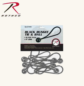 "6"" Black Bungee Tie and Ball 10 Pack"