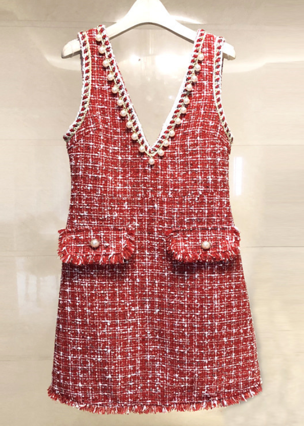 Red Tweed Dress with Pearl Trim