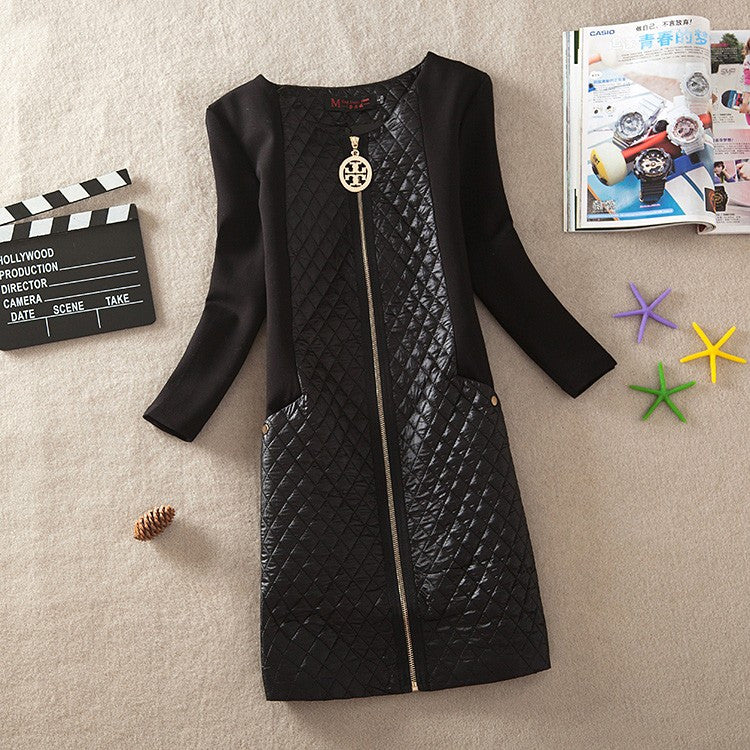 Quilted Long-Sleeve Dress