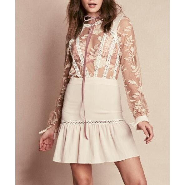 Womens Long-sleeve Embroidered lace dress