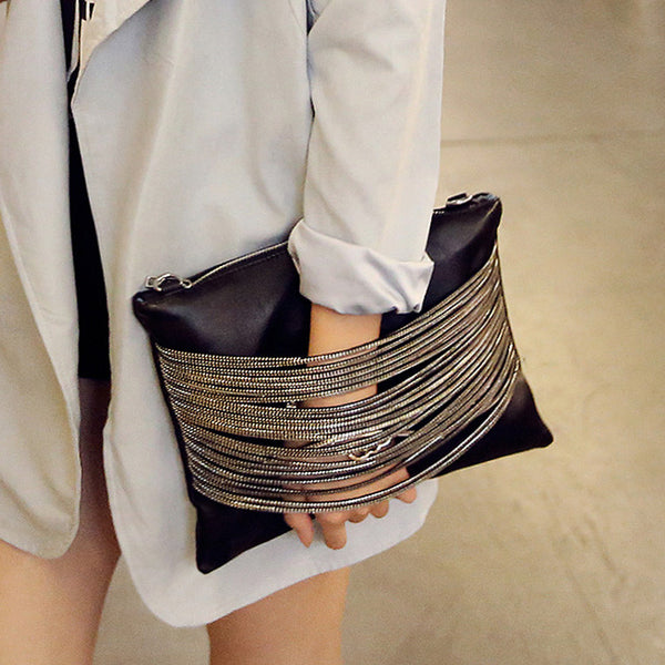 Edgy Zipper Front Leather Clutch