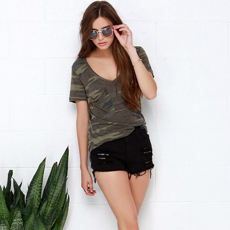 Camo Printed Women V-neck Tee