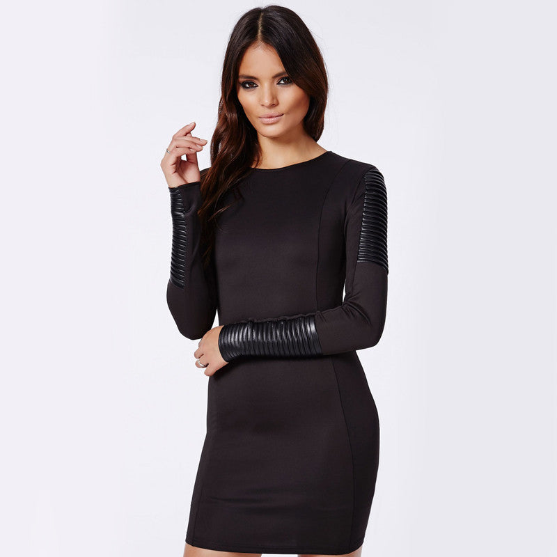 Edgy Womans Leather Dress