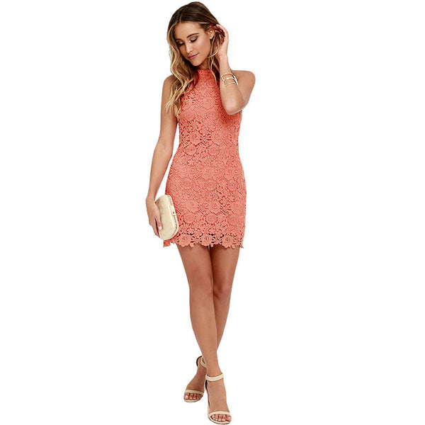 Coral Lace Bodycon Dress
