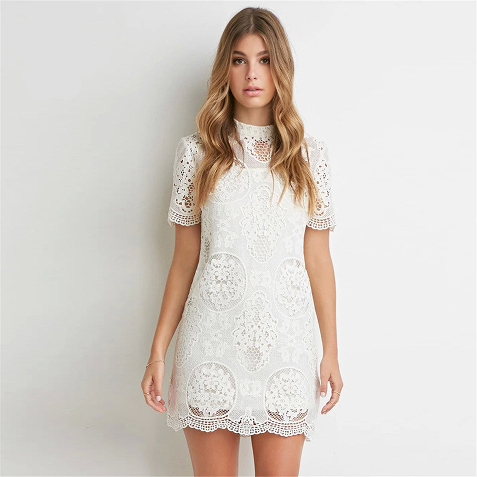 Off- White Lace Dress with sleeve