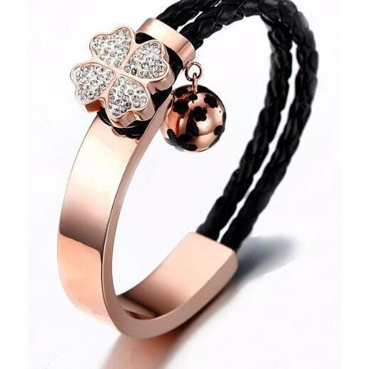 Rose Gold Lucky Clover Bracelet with Leather