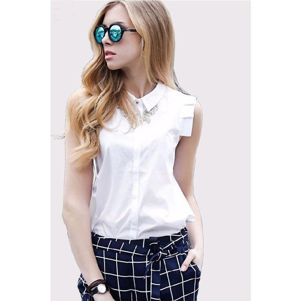 Fashionable White Button Front Shirt