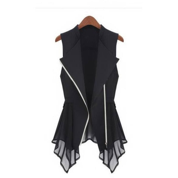 Long Silk Zipper Front Vest
