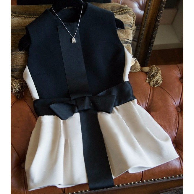 Ribbon Bow Slim Waist Vest