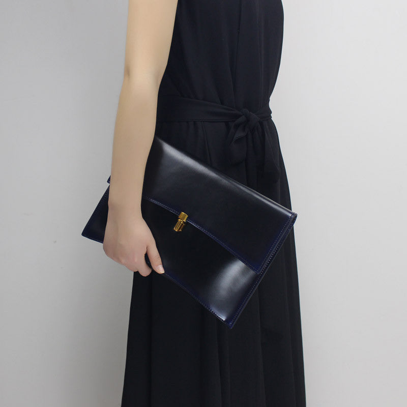 Genuine Leather Envelope Clutch with Vintage Finish