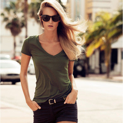 Army Green V-Neck