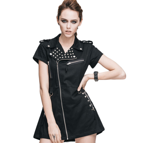 Punk Style Studded Mini Dress
