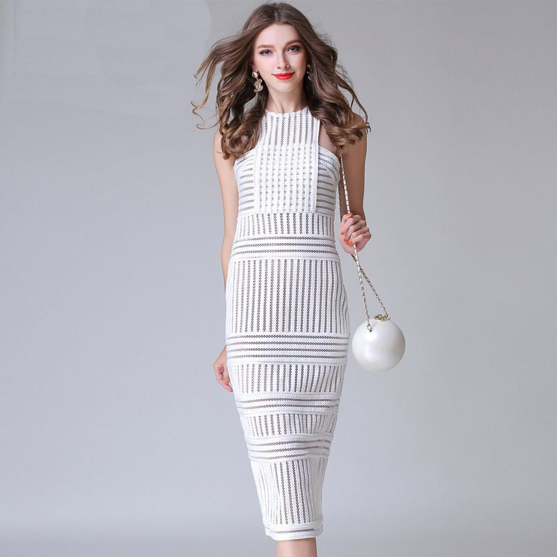 Stunning Mesh Lattice Dress