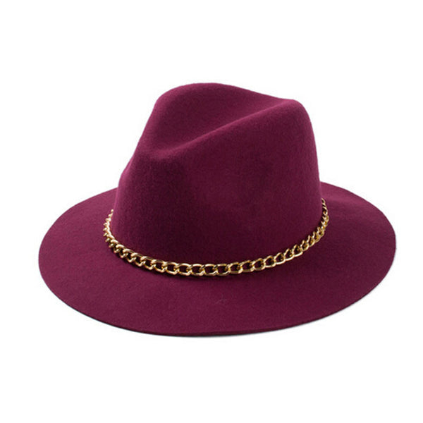 Fedora Hat with Gold Chain-More Colors