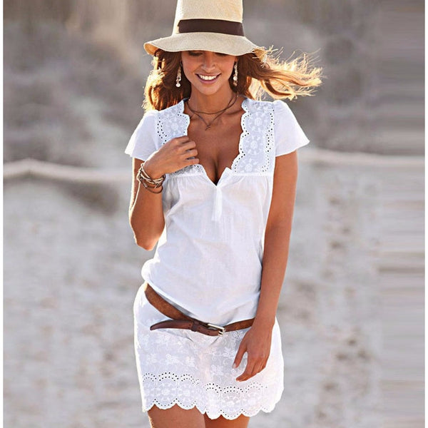 White Cotton Embroidered Spring Dress