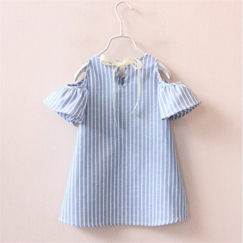 Girls Off the Shoulder Striped Dress
