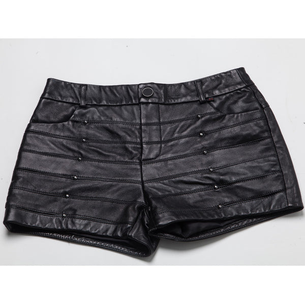 Genuine Leather Studded Quilted Shorts