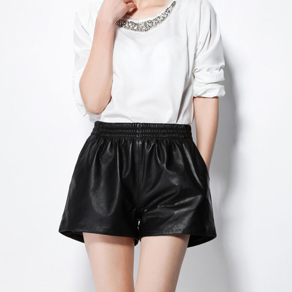Geniune Leather Sporty Shorts