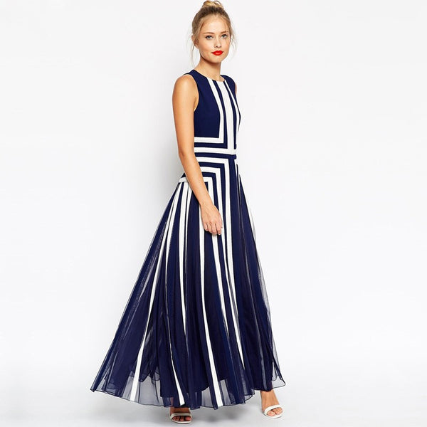 Mesh Striped Maxi Dress