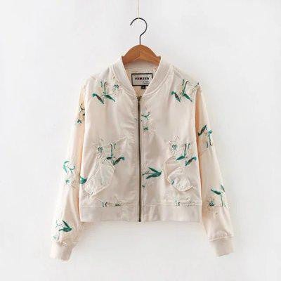 Lightweight Floral Embroidered Bomber Jacket-More Colors