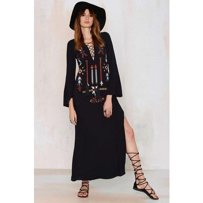 Embroidered Boho Maxi Dress