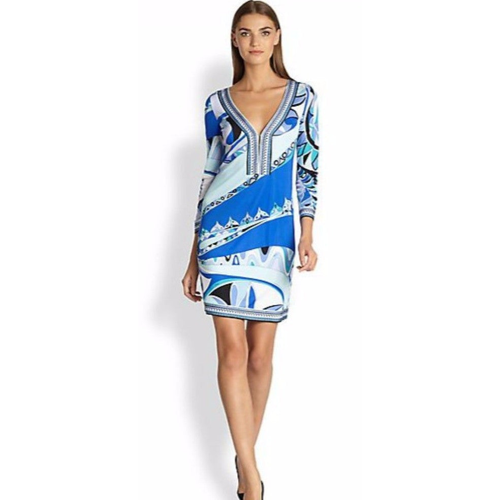 Pucci Print V-neck Blue Geometric Dress