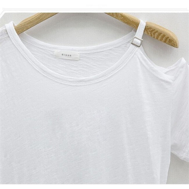 Asymmetrical Open Shoulder Tee Shirt