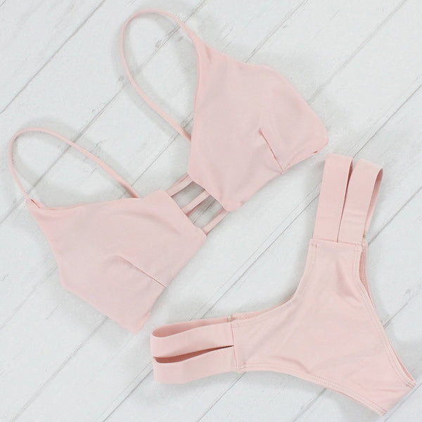Caged Back Blush Bikini