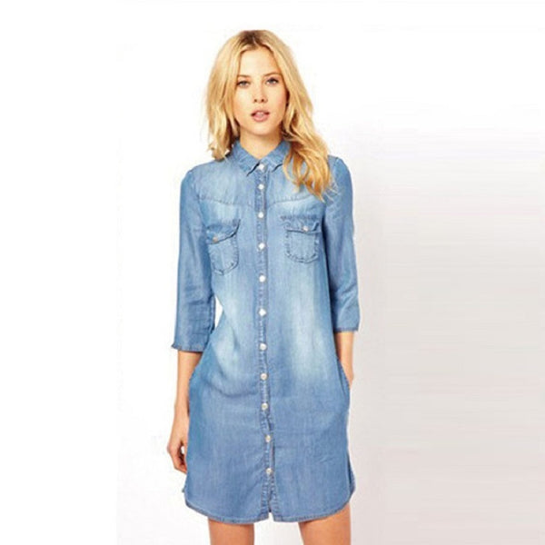 Denim Shirt Dress with Snaps