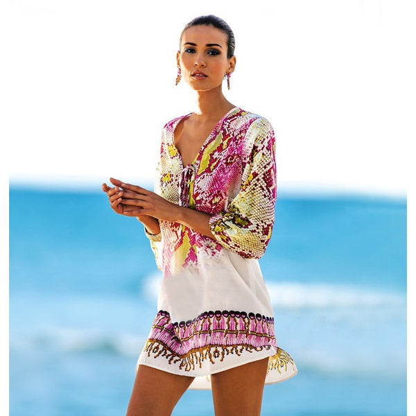 Chiffon Printed Beach Coverup