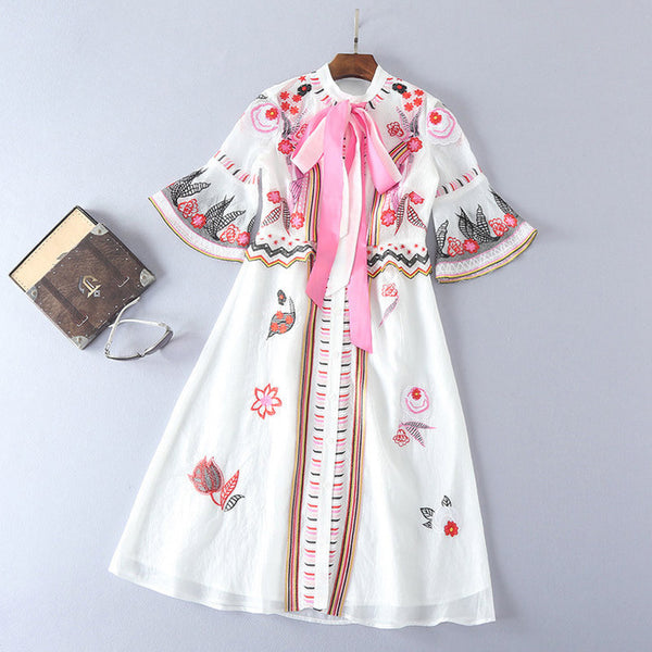 White Embroidered Dress with Bow
