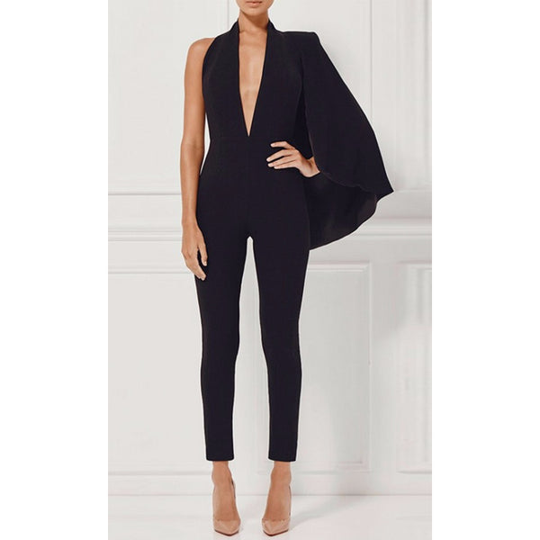 Deep V Neck Runway Jumpsuit