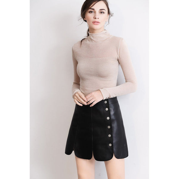 Genuine Leather Petal Mini Skirt